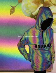 2019 Arco Iris de neón de Tejido reflectante iridiscentes telas funcionales para chaqueta