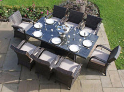 OEM / ODM client personnalisé Table en rotin Table à manger avec 8 chaises meubles (avec parapluie) pour piscine Balcon Jardin