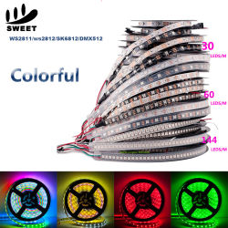 Magische RGB LEIDENE Strook die Lichte Ws2812 2811 2812b 60 Wit achtervolgen LEDs/M