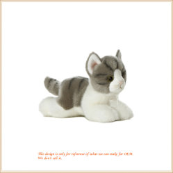 견면 벨벳 회색 얼룩 고양이 고양이 동물성 장난감 아기 파트너