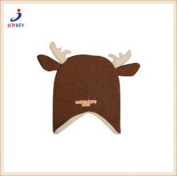 動物の冬の帽子、動物の暖かい帽子、動物は帽子、耳カバーによって編まれたアクリルを編んだ
