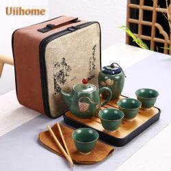 Destacados Viajes socorro Lotus juego de té tetera de Kung Fu de cerámica Set de Regalo personalizado exquisito portátil -02