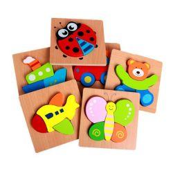 Caricature Montessori en bois 3D'Animal le trafic d'insectes des fruits de jouets éducatifs pour enfants Puzzle en bois