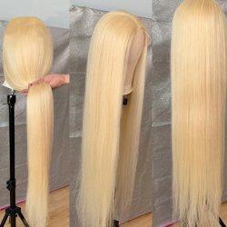 2019 parrucche svizzere brasiliane pre colte del Frontal del merletto del Blonde 613 della chiusura del merletto dei capelli umani della cuticola Aligned100%