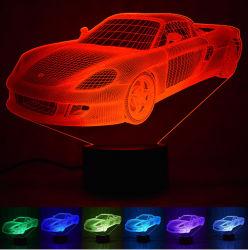 기관자전차 스포츠카 또는 버스 또는 트레인 3D 환영 램프. 3D LED 밤 빛