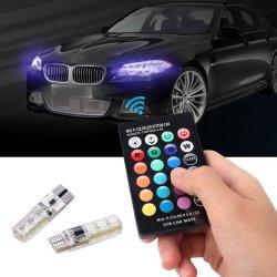 RGB T10 W5W LED 차량용 조명 SMD RGB T10 LED 194 168 전구 원격 폭 실내 조명 소스 T10 자동차 스타일링