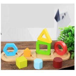 Novas formas geométricas de Educação Infantil de madeira Cores Sorter Puzzle de aprendizagem