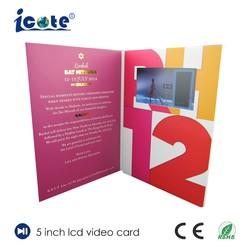 5.0 polegadas LCD a cores TFT de brochura de vídeo para promoção de publicidade com MP4 todos os formatos AVI