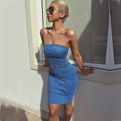 Завернутые Strapless трубы верхней части юбки джинсовая мода платья