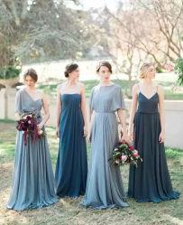 Синего цвета серебристый шифон невесты платье A-Line империи свадебное вечернее платье Z207