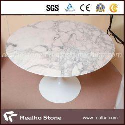 Forme ronde en marbre blanc Calatta Plateaux de table pour le café