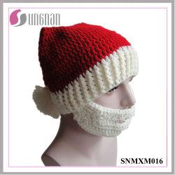 Sombrero de ganchillo Hand-Knit Creative Navidad Santa Claus la tapa de la barba
