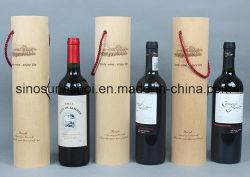 Personnalisé de haute qualité 1Boîte en bois rond en bouteille de vin rouge