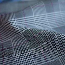 La banda de cuero de PU Artificial Houndstooth textil poliéster Chaqueta de prendas de vestir