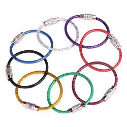 Câble de blocage de vis de la corde de fil en acier coloré les anneaux de clé de la bague fendue Crochet de chaîne de clé Fob titulaire avec les caoutchoucs