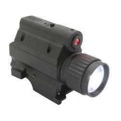 تكتيكيّ يرصّ مسدّس مدفع يعلى مصباح كهربائيّ [لد] مشعل مع ليزر أحمر