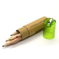 أعاد قرطاسيّة [جفتس&بروموأيشنس] [هلف سز] طبيعيّ خشبيّ 3.5 بوصة [6بكس] لون قلم في صنع وفقا لطلب الزّبون ورقيّة أنابيب أعلى مع بلاستيكيّة مشحذ تغطية