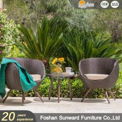 최신 디자인 실외 중국 알루미늄 자외선 내성 레저 가든 호텔 리조트 빌라 홈 파티오 우븐 PE 위커 라탄 모던 발코니 의자와 테이블