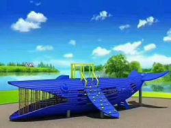 ワニの形の屋外の木の運動場装置