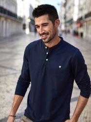 Neue lange Hülsen-Standardmuffen-Polo-T-Shirts des reinen Farben-Stickerei-Geschäfts-Freizeit-Jungen der Herbst-Männer