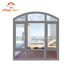 ヨーロッパ式の二重ガラスのガラスアルミニウムかアルミニウムによってアーチ形にされるWindowsの弓Windows