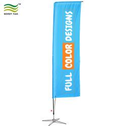 El logo impreso personalizado rectángulo de la playa de vuelo mostrar la bandera