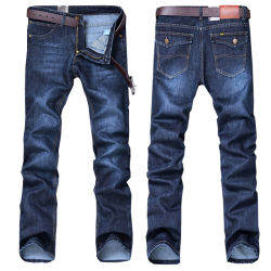 Baumwollkeucht gerades klassisches Jeans-Denim neuer Entwurfs-beiläufige Hose
