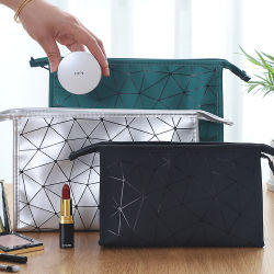 Senhora impermeável beleza jovem rapariga Armazenamento Viagem Makeup Bag Diamond Lattice mulheres saco cosméticos Saco de lavagem de artigos de higiene pu impermeável