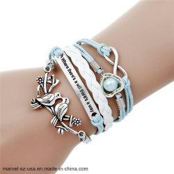 Nouveau mode femmes Bijoux Double infini Bracelet à breloque Bracelet en cuir