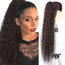 """30の""""長いドローストリングの総合的なポニーテールの高いパフのアフリカのポニーテールの毛の拡張ブラウンの女性(#4)のための毛の部分の巻き毛のトウモロコシの波クリップ"""