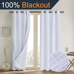 Mira, lino 100% cortinas opacas(con camisa blanca)cortinas opacas& Cortinas forro aislante térmico, pasamuros cortinas para Salón/dormitorio,cortinas de arpillera