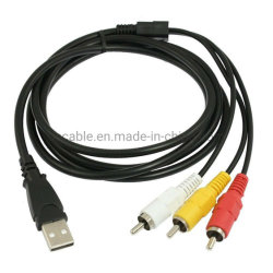 USB A Male - 3 RCA 비디오 오디오 데이터 AV TV 어댑터 코드 5피트 케이블