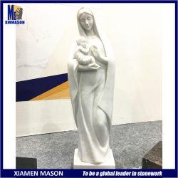 어머니 동정녀 마리아 보유 아기 예수 도매 작은 백색 대리석 카톨릭교 종교적인 신성한 동상