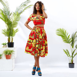 Tela de Batik africanos mayorista de ropa de verano de la mujer 2 piezas Conjunto
