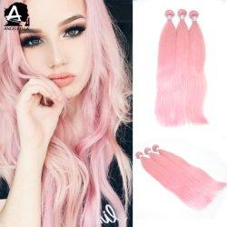 앙멜벨라 미녀 핑크 컬러 헤어 위브 차이니스 실키 스트레이트 리미 인간 머리카락