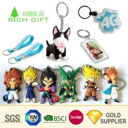 China Promotion Custom Maak Je Eigen 3d Logo Plastic Silicone Loop Keyring Promotional Souvenir Customized Reflective Cartoon Anime Led Rubber Soft Pvc Sleutelhanger