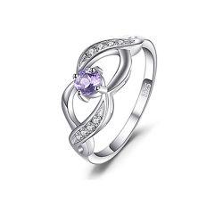 L'anello dell'argento sterlina 925 per le donne di modo multa i monili con l'ametista della pietra preziosa