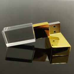 金の帽子の結婚式の誕生日の昇進のギフトのカスタム3Dロゴのガラス水晶USBのフラッシュ駆動機構の棒強いLEDのライト