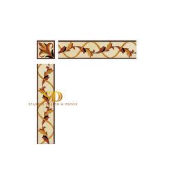 Reticoli di fiore sottili eleganti e bello bordo di marmo dell'intarsio per la parete in stanza da bagno