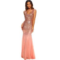 Высокое качество леди в горловину Сарафан Оскар ночь Maxi Sequin вечерние платья