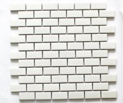 Ceramisch Mozaïek 23*48mm de Witte Heldere Zaal van de Keuken van de Woonkamer van de Ceramiektegel van de Sticker van de Steen Rechthoekige I-Gevormde Kleine