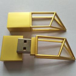 Nuevo USB 2.0 de Metal Vaciar Silver/Gold unidad Flash USB 4/8/16/32GB de memoria USB geométrica