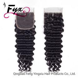 La chiusura profonda malese 4X4 dell'onda dei capelli umani libera/il nero naturale della chiusura svizzera del merletto Remy della metà/tre parti