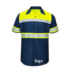 Il tasto convenzionale del Mens di sicurezza della costruzione riflettente su ordinazione del nastro giù mette le camice in cortocircuito di polo del manicotto