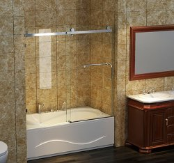 Framelessのシャワー・カーテンを滑らせる浴槽