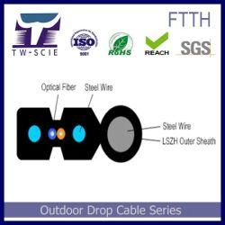 Câble de descente FTTH Auto pris en charge du tube d'Uni câble gainé de fibres optiques LSZH