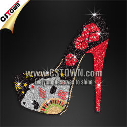 Glitter Poker Detailed High Heels Hot Fix Bling Heat Transfers