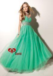 ثوب Sweet-Heart Green Organza Prom Dress (PD-1604)