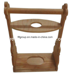 Suporte de madeira de pinho High-End Vinho Madeira personalizados com a pega do transportador