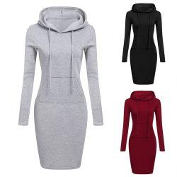Populaires de l'automne Solid Color coulisse chandail chaud de la mode vestimentaire Carrière Carrière Plus Size Mesdames occasionnel Hoodie robes